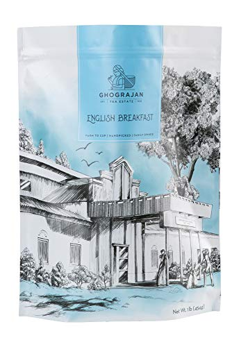 English Breakfast Loose Leaf Black Tea (200+ Servings) - Fresh Organic Harvest - Strong Full Bodied Whole Leaf Assam Black Tea - Farm2Cup from 5th Generation Tea Farm - Bulk Pack - 1 Pound Pouch