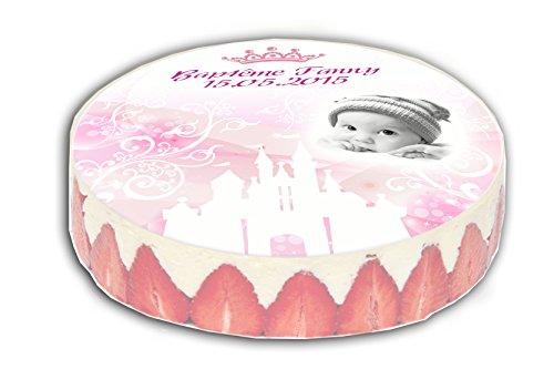 PLAQUE PATE A SUCRE pour gateau thème PRINCESSE blanc et rose diamètre 20cm - pour baptême mariage communion anniversaire personnalisée avec votre texte et votre photo