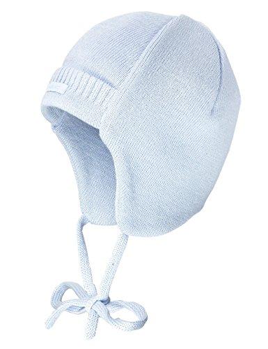 maximo Baby-Jungen Babystrickmütze, ausgenäht, Bindeband Mütze, Blau (zartblau 33), 39 cm (Herstellergröße: 39)