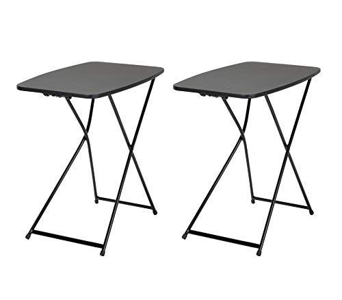 "COSCO 18"" x 26"" Indoor Outdoor Adjustable Height Personal Folding Tailgate Table, Black, 2 pack"