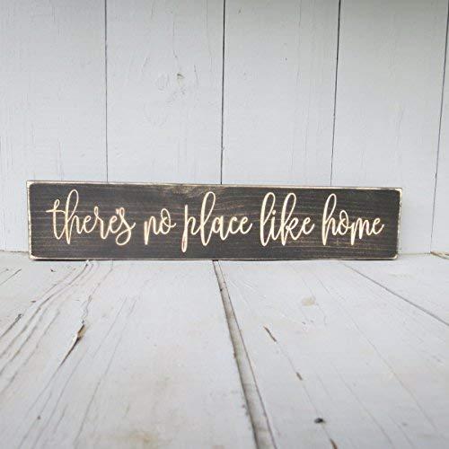 Har3646vey Señal con Texto en inglés There's no Place Like Home, There's no Place, no Place Like Home, Like Home, Like Home, Decoración del hogar, Cartel de Madera, Home Inauguración de la casa