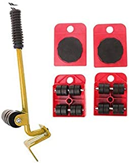 Furniture Mover Tool Set Furniture Transport Lifter Heavy Stuffs Moving Tool 4 Wheeled Mover Roller and 1 Wheel Bar Hand T...