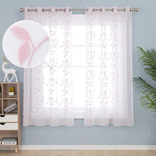 Deconovo Vorhänge Kinderzimmer Mädchen Stores Ösenvorhang Transparent Gardinen Wohnzimmer Vorhang Stickerei 175x140 cm Pink Blatt 2er Set