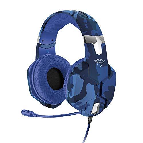 Trust Gaming GXT 322B Carus Gaming Headset Kopfhörer (mit flexiblem Mikrofon für PS4, Xbox One und PC) blau camouflage