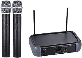ammoon Sistema di Microfono VHF Senza Fili Handheld Doppio Canale con Echo Funzione 2 Microfoni e 1 Ricevitore 6,35...