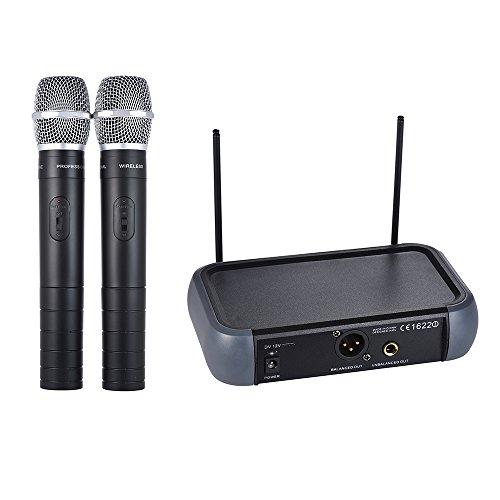 ammoon Microfono Wireless Professionale, VHF Senza Fili Handheld Sistema di Microfono con 2 Canale Echo Funzione 2 Microfoni 1 Ricevitore 6,35 Millimetri Cavo Audio per Karaoke Famiglia Partito