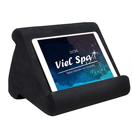 Esptula - Soporte para ordenador portátil, soporte para tableta, almohada suave, multiángulo, soporte para teléfono móvil, para tablets eReaders, smartphones, libros, color negro