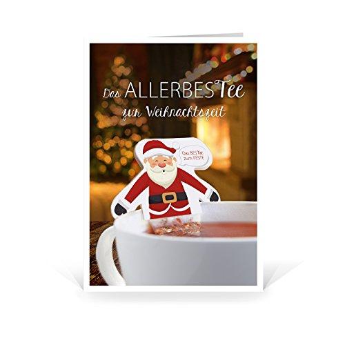 10 x innovative Weihnachtsgrußkarten mit 10 Teebeuteln - inklusive 10 Umschlägen (120 x 170mm, seidenmatt auf festem Karton)