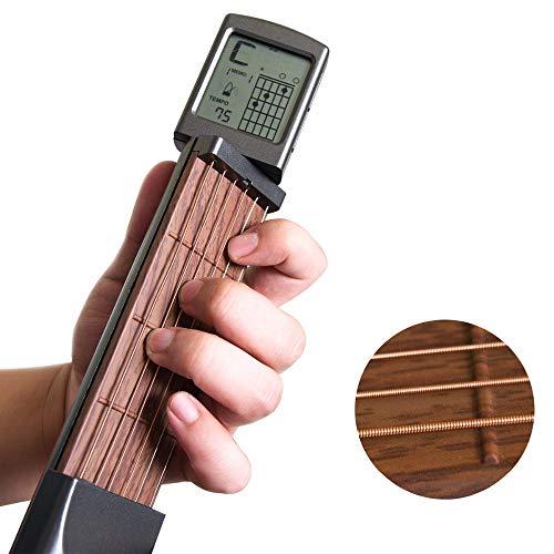 Volwco Gitarren Akkord Trainer, Pocket tragbares Übungswerkzeug für Anfänger, Mini 6 Bünde Gitarre Fingerspeicher Übungsgerät mit drehbaren Akkorden und Stimmeneinstellungsschlüssel und Stofftasche