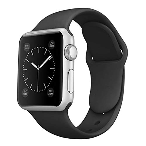 Kompatibel mit Apple Watch Armband 38mm 40mm 42mm 44mm SE 40MM Armband Sport Weiche Silikon Apple Watch Ersatz Armband Damen iWatch Armband SE Series 6 5 4 3 2 1 (38mm/40mm-M,schwarz)