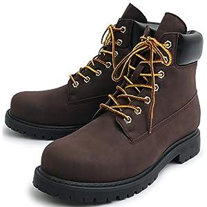 [グロウスモード] シークレットブーツ ワークブーツトレッキングブーツ レザー シークレット レースアップ ブーツ ショートブーツ メンズ B4L サイドジップ ハイカット スムース シューズ 革靴 カジュアルミドル ロングブーツ プレゼント ギフト 父の日 S(25.0cm~25.5cm) ダークブラウン BLGLBB-108-DBR-S_x5