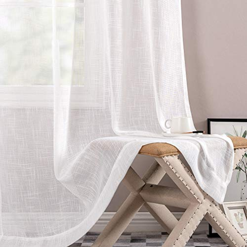 Sheer Window Curtains for Bedroom Linen Textured White Curtain Panels for Living Room 108 inch LengthRod Pocket 2 Panels