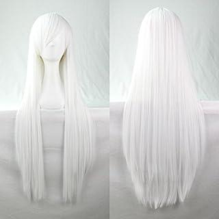 New 80cm Straight Sleek Long Full Hair Wigs w Side Bangs Cosplay Costume Womens, White