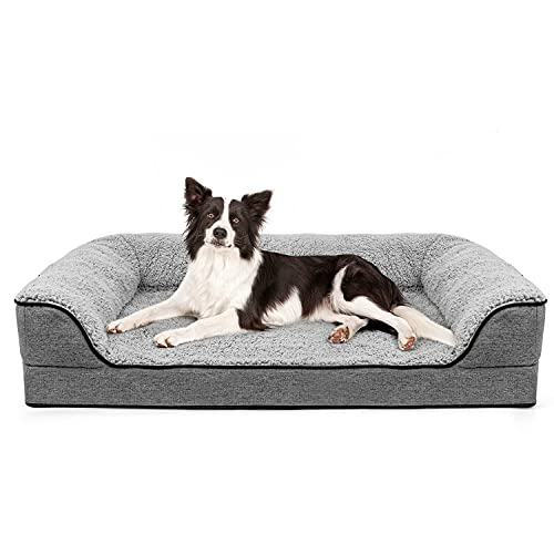Orthopedic Dog Bed for Large Dogs, Washable Pet Sofa Bolster Bed with Removable Cover & Waterproof Liner, 35' Dog Beds for Medium Dogs