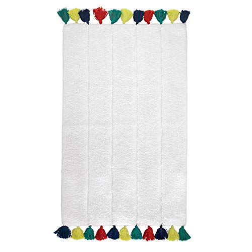 Price comparison product image iDesign Tassel Bathroom Mat,  Rectangle-Shaped Small Rug Made of Cotton,  White and Multicolour,  53.3 cm x 86.4 cm