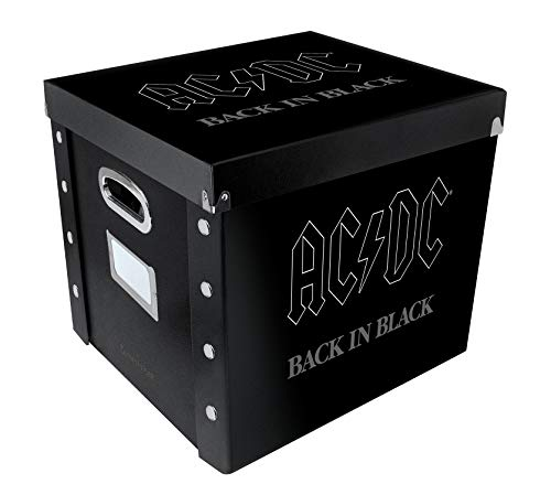 Snap-N-Store Vinyl Record Storage Case with Lid, Holds up to 75 Records, 13.2 x 12.625 x 12.5 Inches, AC DC Back in Black Album Design, SNS02076, 12 inch - 1 Pack