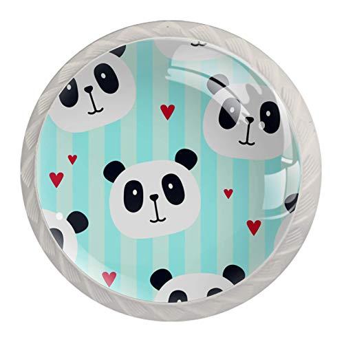 Pomos decorativos redondos para gabinete de cocina, cajones, tocador, 4 unidades, diseño de panda a rayas azules