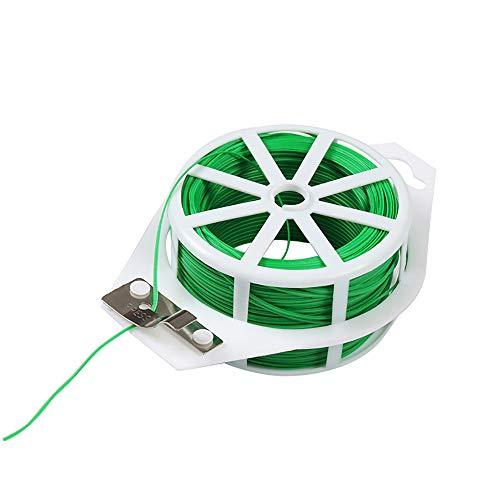 Bridas de cables, alambre de atar, con cúter, en cesta de alambre de flores, alambre enrollable, cierres multifunción para sistemas de protección de plantas en el jardín (1 verde 100 m)
