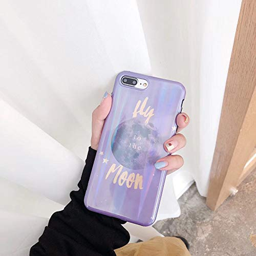 WotheCase - Funda y carcasa para iPhone 7 8 7 8Plus X XS XR XS Max, funda para teléfono, Aurora Viola Moon 3D'Imd, ultrafina, de TPU, suave, antiarañazos As shown for iPhone XsMax 6.5(Inch)