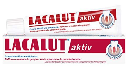 Dentifricio per igiene dentale. Igiene orale e pulizia denti. Dentifricio al fluoro che combatte la placca e tartaro. Alito fresco. Lacalut Aktiv 75ml