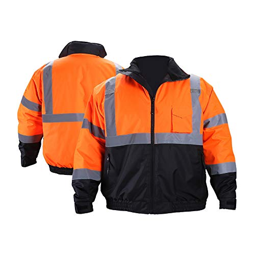 FONIRRA Hi-Viz Safety Jacket for Men with Reflective Liner,Waterproof 100% Polyester ANSI Class 3 Full Zipper Bomber Work Jacket Hoodie(Orange,2XL)