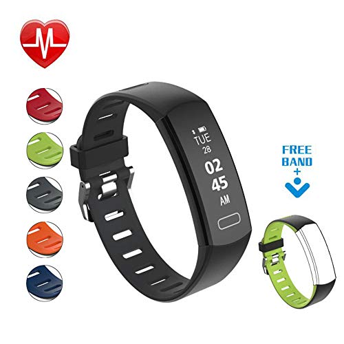 Fitcomm Fitness Tracker, Activity Tracker Watch with Heart Rate Monitor, IP67 Waterproof Smart Fitness Band with Sleep Monitor, Step Counter, Calorie Counter, Smart Pedometer for Men Women Kids