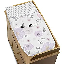 Sweet Jojo Designs Lavender Purple, Pink, Grey and White Changing Pad Cover for Watercolor Floral Collection – Rose Flower