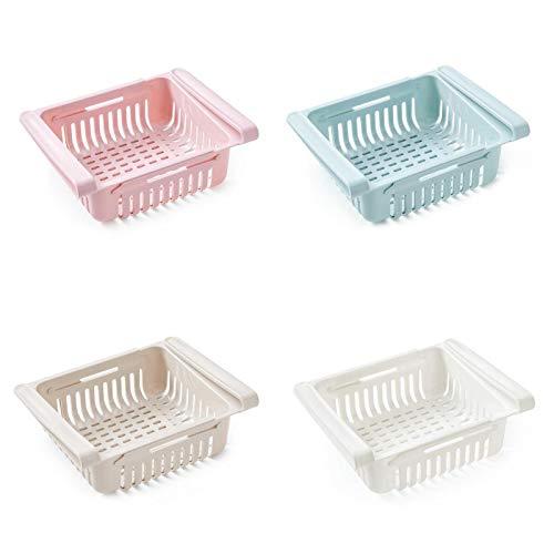 BABEQ Caja De Almacenamiento De Gabinete De Refrigerador RetráCtil, Un Contenedor De Almacenamiento Que Es FáCil De Almacenar Y Organizar(4 Pack)
