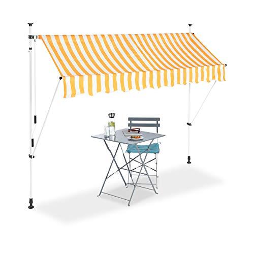 Relaxdays Klemmmarkise, Balkon Sonnenschutz, einziehbar, Fallarm, ohne Bohren, höhenverstellbar, 250 cm breit, gelb gestreift