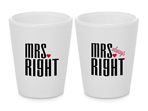 Unique Lesbian Wedding Gift - Pair Mrs. Right & Mrs. Always Right Shot Glasses! (2pcs)