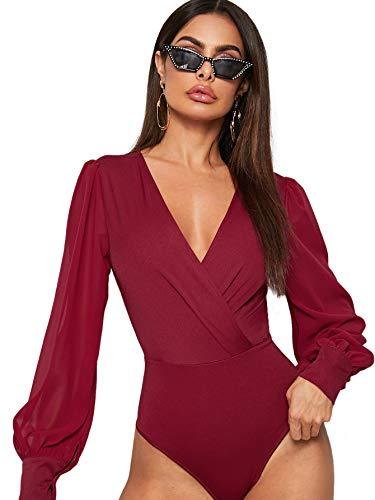 DIDK Body elegante para mujer, cuello en V, manga larga, de malla, con mangas de farolillo, monocolor, parte superior de manga larga burdeos S