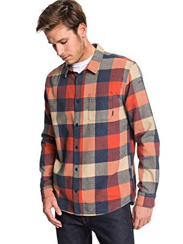 Quiksilver Herren Motherfly Flannel-Langärmliges Hemd für Männer, Burnt Brick, L