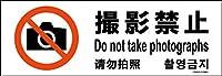 標識スクエア「 撮影禁止 」ヨコ・小【プレート 看板】190×65mm CTK6058 2枚組