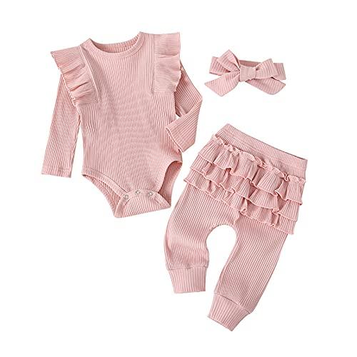3PCS Newborn Baby Girl Ruffle Romper Heart Print Jumpsuit Bodysuit +Active Pants +Headband Outfit Set for 0-24 months