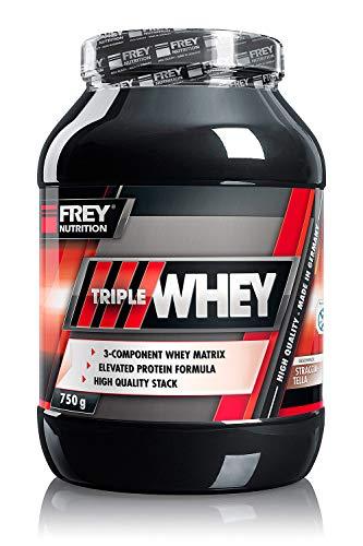FREY Nutrition TRIPLE WHEY 750g (Stracciatella) Leckeres und cremiges Whey-Protein - Trägt zur Muskelzunahme und zum Muskelerhalt bei, Hoher 30% iger Isolatanteil- Hoher BCAA-Anteil- Sehr gut löslich