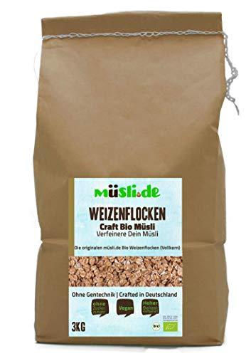 müsli.de BIO Weizenflocken 1x3kg, für eine vegane Ernährung geeignet. Knackiger Geschmack dank Vollkornflocken. Starte klassisch in den Tag!