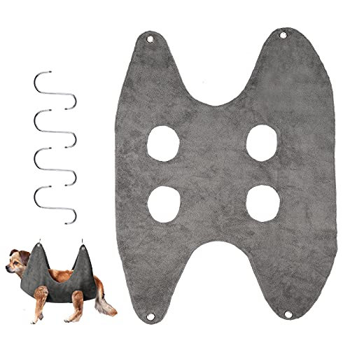 KINBOM 1 Pieza Hamaca Aseo Mascotas Gris 2 en 1 Toalla Secado Perro Gato Limpieza Aseo Hamaca Bolsa de Sujeción para Cuidado de Mascotas Corte de Uñas Baño Lavado Belleza (M)