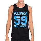 ALPHA INDUSTRIES 59 Tank Print Camiseta, Black/Neon Blue, XL para Hombre