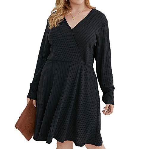2YD8WH6 Herbst Und Winter Plus Size V-Ausschnitt Lockeres Kleid