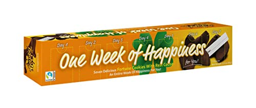 Happy Chocolate Flavored Fortune Cookie - 'one week of happiness' - 7 Cookies per Box - Net Weight 1.48oz