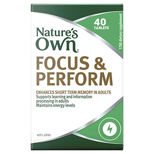 Nature's Own Focus and Perform - Supports Short Term Memory in Adults - Maintains Energy Levels, 40 Tablets