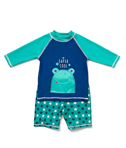 BONVERANO(TM Toddler Boys Rashguards UPF 50+ Sun Protection Swimwear Two Pieceswith Sun Cap(Green,4T)