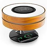 KOSIEJINN Lámpara de cabecera con altavoz Bluetooth TWS y cargador inalámbrico de 10 W, lámpara de mesa, lámpara de escritorio con reloj digital