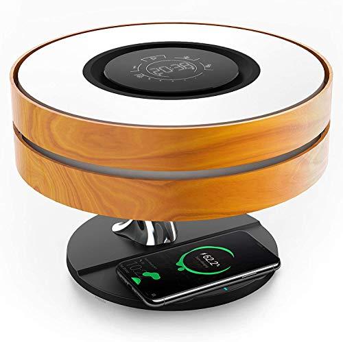 S SMAUTOP Lampada da tavolo Caricabatterie wireless Lampada da comodino con altoparlante Bluetooth,funzione touch screen Lampada da tavolo con modalità di sospensione automatica attenuazione continua