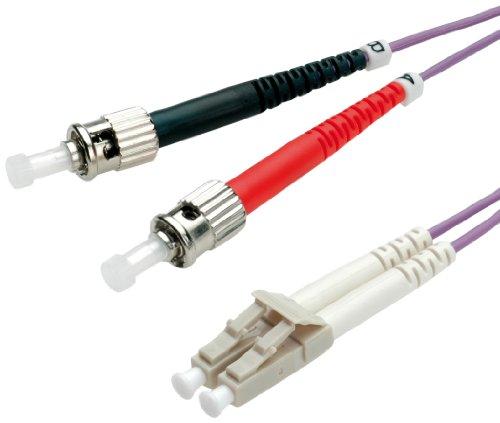 Value ST/LC LWL Netzwerkkabel   Glasfaser Kabel   OM4 Duplex Patchkabel in violett   2 m