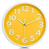 Lafocuse Reloj de Pared Amarillo Niña Moderno Decorativos Silencioso Interior Redondo 30 cm Reloj Cuarzo Grandes Números sin Tic TAC para Cocina Salon