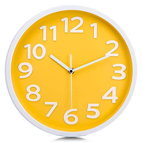Lafocuse Reloj de Pared Amarillo Niña Silencioso 30 cm Moderno 3D Grandes Números Reloj Cuarzo Fácil de Leer sin Tic TAC para Salon Cocina Dormitorio