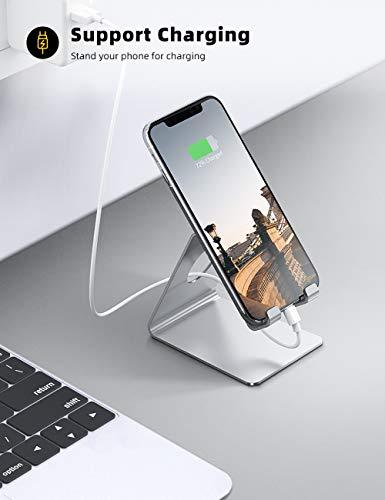 Lamicall Handy Ständer, Handy Halterung - Handyhalterung, Halter für iPhone 12 Mini, 12 Pro Max, 11 Pro, Xs Max, XR, X, 8, 7, 6S Plus, SE, Samsung S10 S9 S8, Huawei, Schreibtisch, Smartphone - Silber
