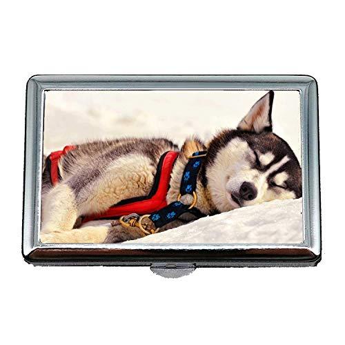 Stahl Zigarettenetui Metall Box, Pudel Hund Husky Hund, Kreditkarten-Protector