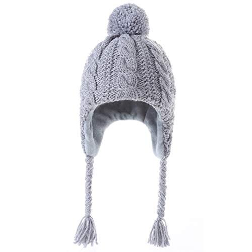 Moon Kitty Girls Knit Hats Winter Fleece Lining Skiing Winter Caps with Warm Ear Flap Gray